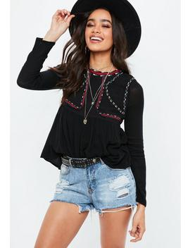 Black Crew Neck Embroidered Blouse by Missguided