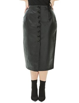 The Dome Bow Button Faux Leather Pencil Skirt by Elvi