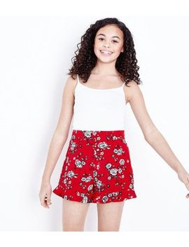 Teens Red Floral Frill Hem Shorts by New Look