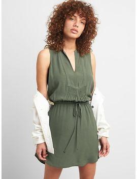 Sleeveless Tie Waist Bib Front Shirtdress by Gap