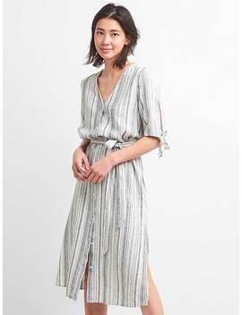 Stripe V Neck Midi Shirt Dress by Gap