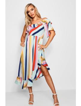 Lisa Asymmetric Bold Stripe Ruffle Hem Midi Dress by Boohoo
