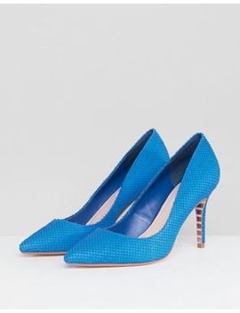 Dune Pointed Leather Court Shoe In Bright Blue by Dune