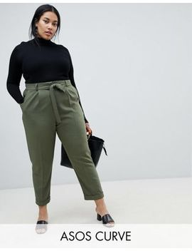 Asos Design Curve Woven Peg Trousers With Obi Tie by Asos Design