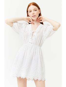 Lace Up Floral Eyelet Mini Dress by Forever 21