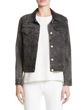 Stretch Denim Jacket With Imitation Pearl by Adam Lippes