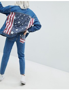 Pull&Bear Usa Flag Mom Jeans by Pull&Bear