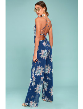 Shea Navy Blue Floral Print Jumpsuit by Lulus