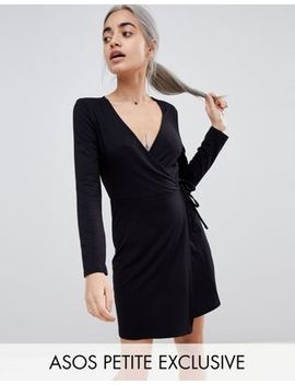 Asos Design Petite Mini Wrap Dress With Long Sleeve by Asos Design