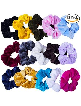 Gogogu Hair Scrunchies Elastic Soft Velvet Scrunchie Hair Ties Elegant Scrunchy Hair Bands Hair Bobbles (15 Pack) by Gogogu