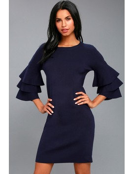 Everyday Extravagance Navy Blue Flounce Sleeve Sweater Dress by Lulus