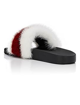 Women's Striped Mink Fur Slide Sandals by Givenchy
