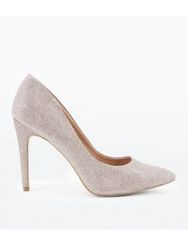 Rose Gold Glitter Pointed Court Shoes by New Look