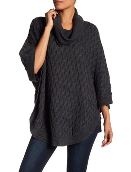 Button Accent Poncho Sweater by Papillon