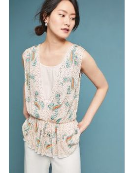 Antik Batik Beaded Deep V Shell by Antik Batik
