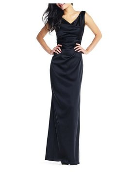 Draped Stretch Satin Column Gown by Adrianna Papell