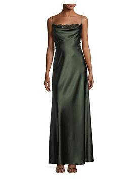 Satin Empire Waist Slip Column Evening Gown W/ Lace by Jill Jill Stuart