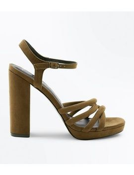 Khaki Suedette Tube Strap Platform Heeled Sandals by New Look