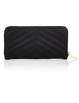 Monogram Leather Zip Around Wallet by Saint Laurent