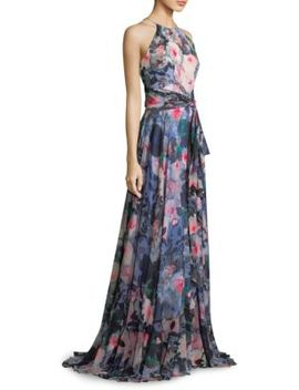 Floral Ruffle Wrap Gown by Badgley Mischka