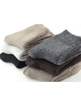 Ebmore Mens Heavy Thick Warm Comfort Wool Crew Winter Socks 5 Pack Mixed Colors by Ebmore®