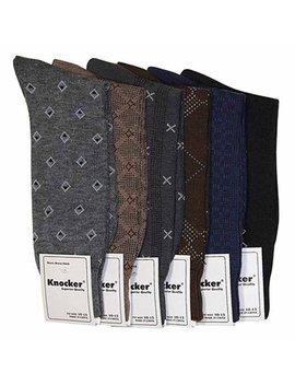 Knocker Men's Assorted 6 Pack Designed Dress Socks Size 10 13 by Knocker