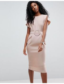 Asos Split Cap Sleeve Midi Dress With Circle Belt by Asos Collection