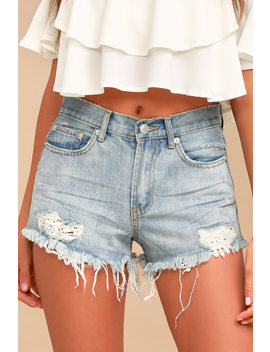 Sneak Peak Light Wash Distressed Lace Denim Shorts by Lulus