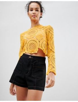 Glamorous Long Sleeve Crochet Crop Top by Glamorous