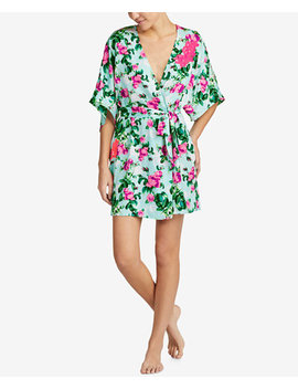 Floral Print Lace Detail Short Robe by Betsey Johnson