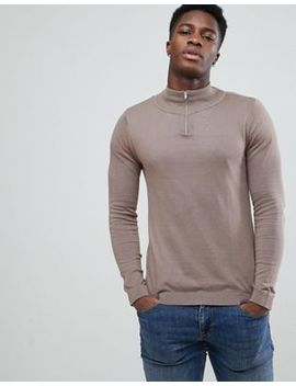 Asos Half Zip Cotton Jumper In Light Brown by Asos