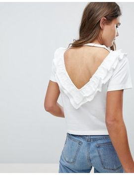 Asos Top With Ruffle & V Back Detail by Asos Collection