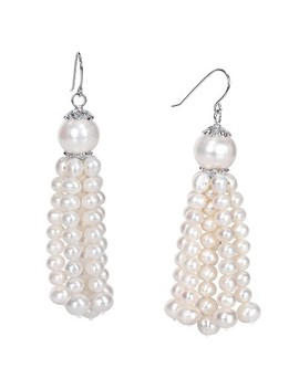 4.5   11 Mm Freshwater Cultured Tassel Pearl Drop Earrings In Sterling Silver   White by Target