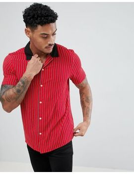 Asos Design Oversized Stripe Shirt With Contrast Collar In Red by Asos