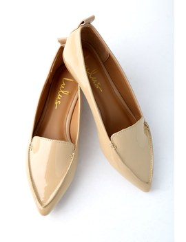Emmy Nude Patent Pointed Loafers by Lulu's