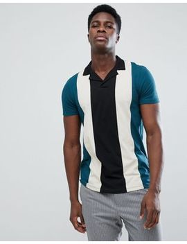 Asos Polo Shirt With Retro Vertical Panels And Revere Collar by Asos