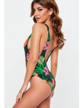 Green Tropical Print Low Back Swimsuit by Missguided