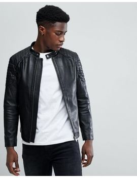 Selected Homme Leather Racer Jacket by Selected Homme