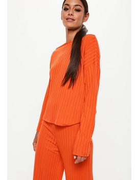 Orange Slouchy Ribbed Top by Missguided