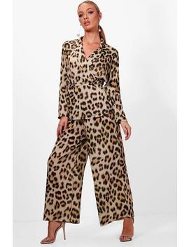 Erin Leopard Print Wide Leg Wrap Top Co Ord by Boohoo