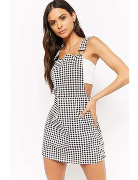 Houndstooth Denim Overall Dress by Forever 21