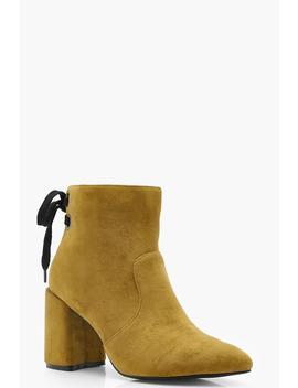 Alexis Tie Back Block Heel Shoe Boots by Boohoo