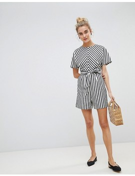 Warehouse Thick Stripe Playsuit by Warehouse