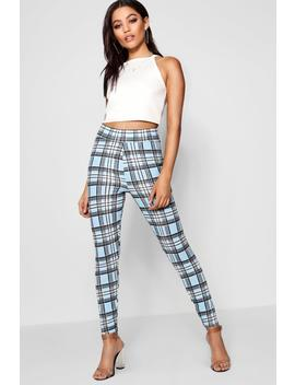 Claire Crepe Pastel Check High Waist Legging by Boohoo