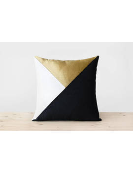 Black White Gold Velvet Pillow Cover Colorblock Pillows Modern Geometric Throw Pillow Black And Gold Cushion Modern Designer Velvet Pillows by Etsy
