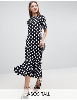 Asos Tall Drop Hem Maxi Dress In Polka Dot by Asos Tall