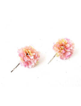 2 Blush Pink Carnation Flower Hair Grips Clips Bobby Pins Slides Bridesmaid 4916 by Etsy