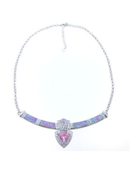 Christmas Gift Hot Selling Pink Fire Opal & Pink Cz Women Fine Necklace Pendant by Unbranded