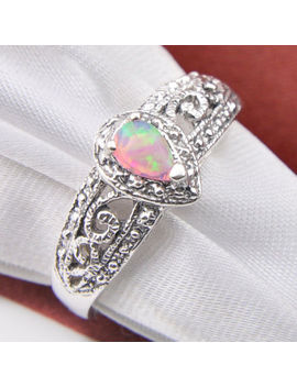 Wedding Gift Rose Pink White Fire Opal Gemstone Solid Silver Rings Size 7 8 9 by Ringly