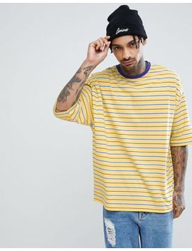 Asos Design Oversized Retro Stripe T Shirt With Contrast Ringer by Asos